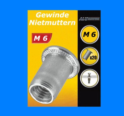 20 Stück M6 Gewinde Nietmutter Einnietmuttern Gewindemutter Für Nietmutternzange