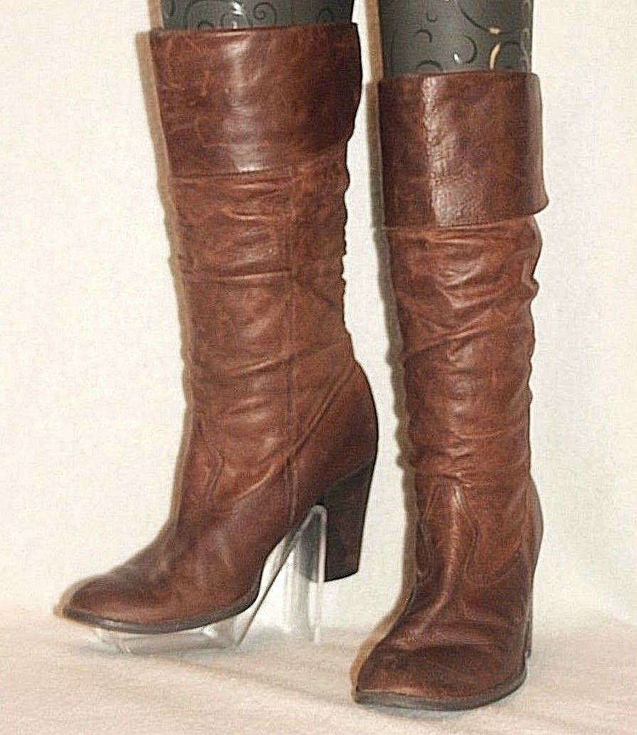 """STYLE & CO. ~ """"Oxford"""" Brown Distressed Leather Mid-Calf Boots Sz 7 M *G-VERY G."""