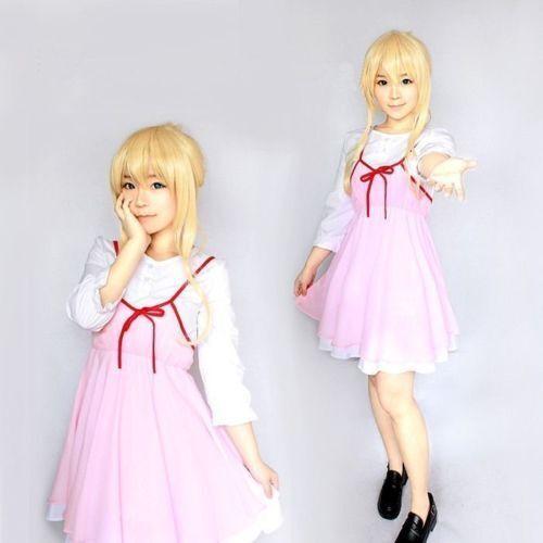 Your Lie in April Kaori Miyazono Anime Pink White Daily Lolita Dress Cosplay Cos