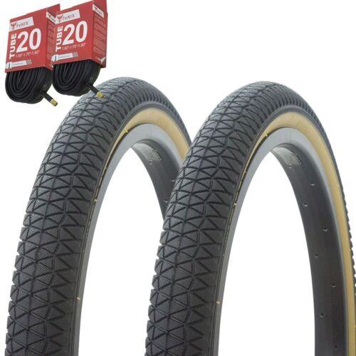 """1PAIR Bicycle Bike Tires /& Tubes 20/"""" x 1.95/"""" Black//Gum Side Wall P-1171"""
