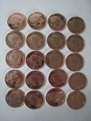 "20;copper .999 Fine; One Avdp Ounce Bullion Rounds; Buffalo ""coins"" Other Bullion 2011 Set Coins & Paper Money"