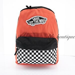 NWT New Vans Realm Backpack School Laptop Bag Checkerboard Paprika Black White