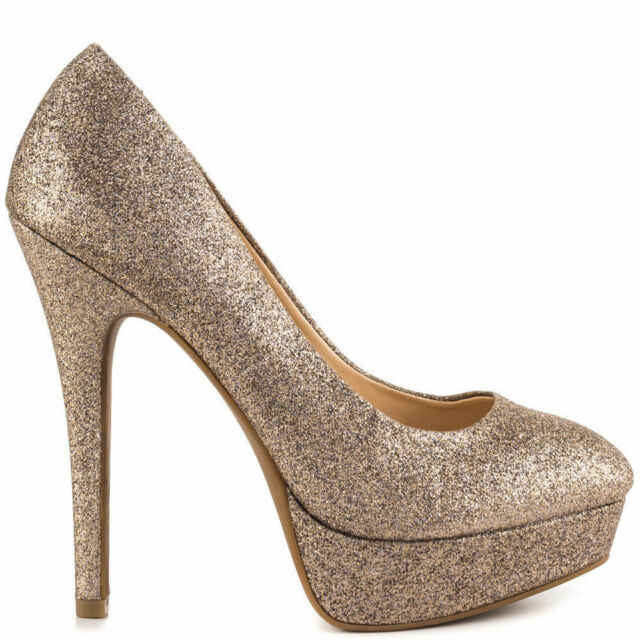 3224655314f0 Jessica Simpson Bette Soft Gold Dusty Glitter 8.5 M Platform Pumps Stilettos  New