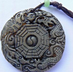 I-ging-amulett Mit Drache Und Phönix Aus Grüner China-jade Ø 4,5 Cm Neuwertig GüNstigster Preis Von Unserer Website