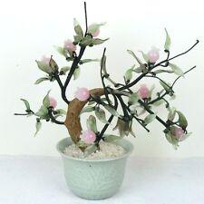 """Glass Artificial Flowers Bonsai Plant - Pink Buds Green Porcelain Pot 10""""H New"""