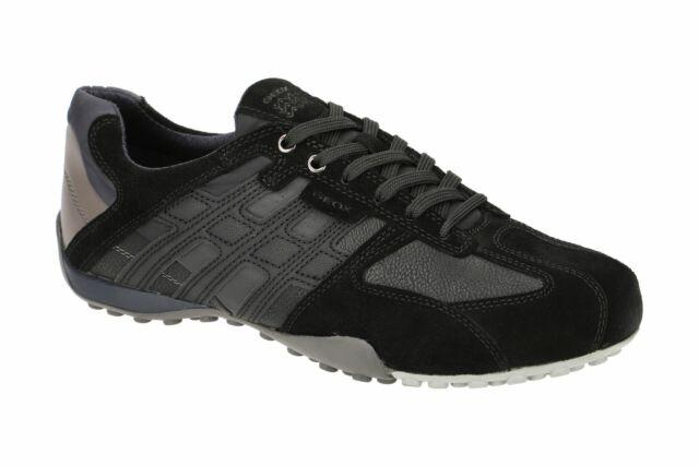 half price sale outlet store sale Geox Respira Snake E Men Trainers Low Shoes U8207E Lace up Black Dk Avio