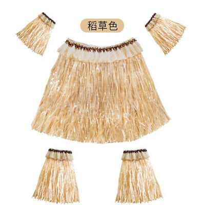 1Set Tropical Hawaiian Luau Weave BBQ Party Table Cover Grass Skirt Decoration