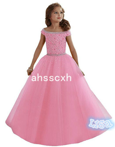 11 color Girls Beaded Floor length Party Ball Gown Pageant Dresses For Christmas