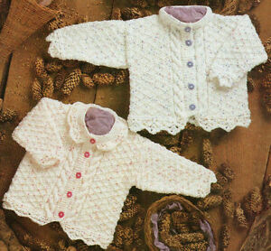 Baby-Cable-amp-Diamond-Pattern-Cardigans-Lace-Edging-16-034-26-034-DK-Knitting-Pattern