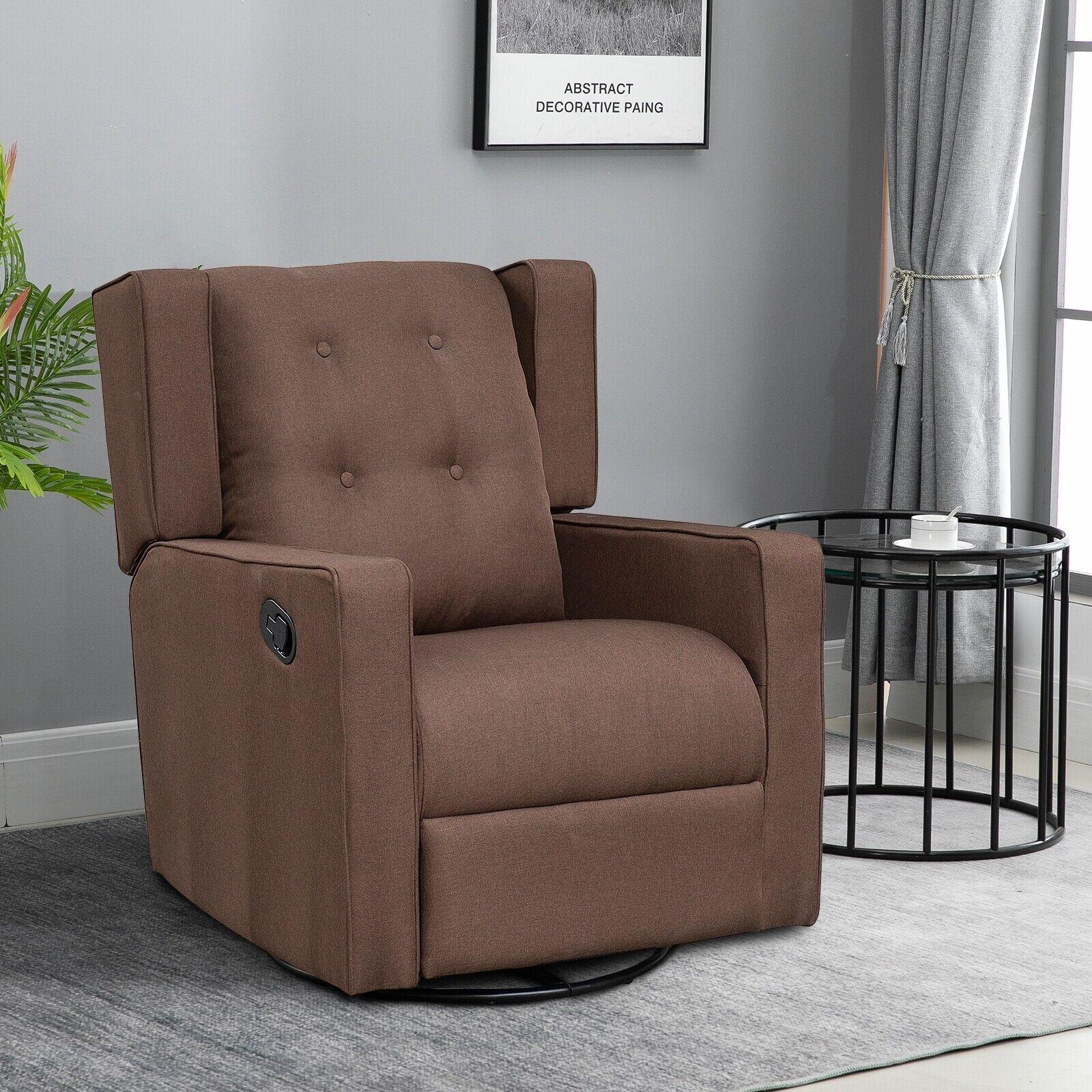 Polyester Linen Fabric Swivel Gliding Recliner Chair, Dark Brown