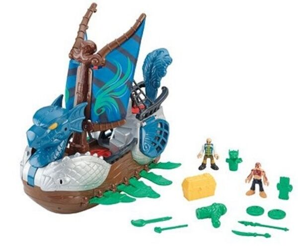 IMAGINEXT FISHER-PRICE SERPENT PIRATE SHIP & FIGURES NEW IN THE BOX