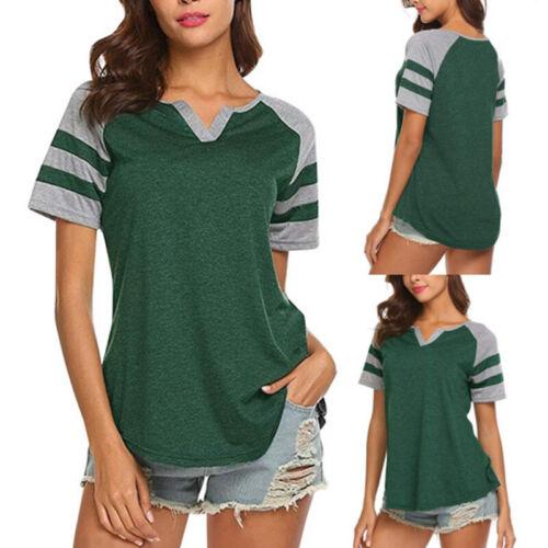 Womens Summer Stripe Basic Tee Tops Blouse Raglan Sleeve Baseball Casual T-Shirt