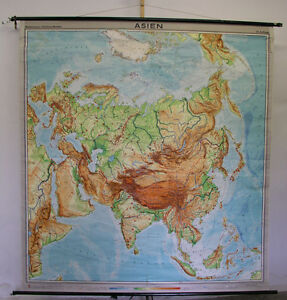 NICE Old School Wall Map School Map ASIA China Map 1964 Roll Card ...