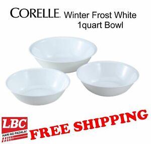 Corelle bowl white 1 QT  3PC set winter frost white bowl