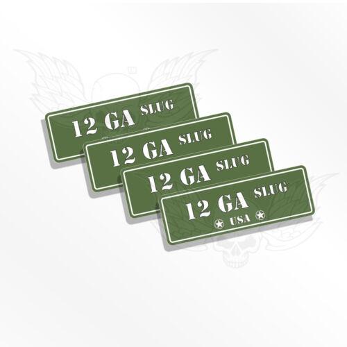 12 GA SLUG Labels  OD Ammo Can Decals 12GA SLUG  Set of 4 Ammo Can Stickers