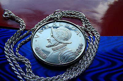 """CONQUISTADOR PANAMA PROOF PENDANT on a 30/"""" .925 STERLING SILVER CHAIN"""