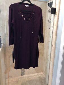 Details About New Calvin Klein Womens Lace Up Dress Purple Plum Sweater Dress L Large