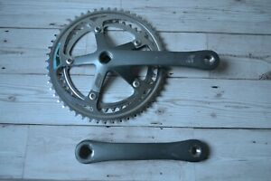 Vintage-1990-SR-Sakae-Roundtech-170mm-Crank-Set-Steel-Double-52-42T-Chainrings