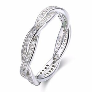 SFFH71 .925 Sterling Silver Twisted CZ Stone Engagement Women's Rings Size  6,7,8 | eBay