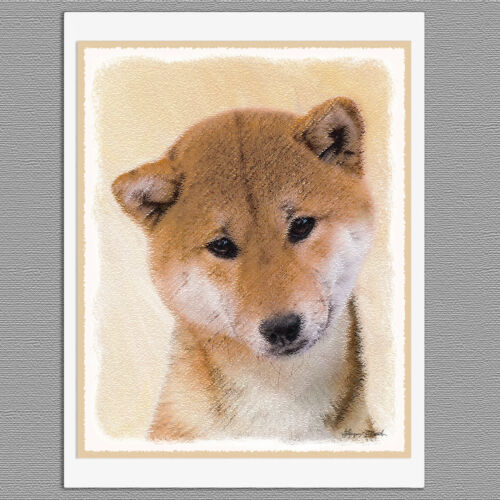 6 Shiba Inu Red Dog Blank Art Note Greeting Cards