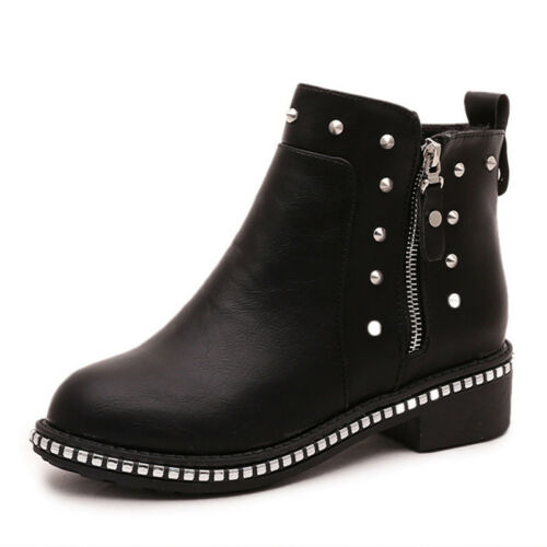 Womens Low Block Heel Boots Zip Up Studded Ankle Boots Diamante Chelsea Shoes UK