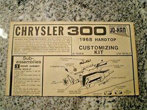 "JO-HAN ""1968 Chrysler 300 "" Original Model Car Instruction sheet"