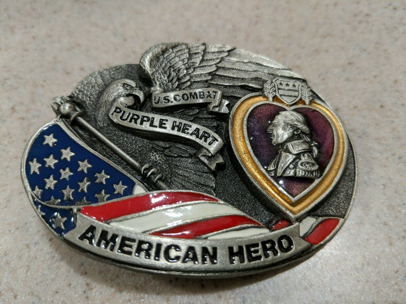 1996 Militar Hebilla De Cinturón Estaño corazón púrpura combate herido American Hero 4342