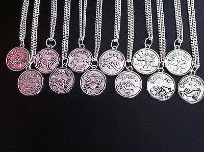 "ZODIAC STAR SIGN HOROSCOPE CHARM NECKLACE 18"" SILVER CHAIN IN GIFT BAG UK"