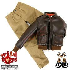 Wild Toys 1/6 A2_ Brown Worn Jacket + Walnut Chino Set _Leather-like Now WT018C