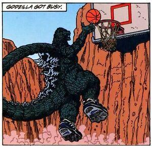 Image result for godzilla playing basketball