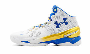 6cb0c9904e2 Under Armour UA Curry 2 size 13. White Blue Yellow. Gold Rings ...