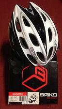 Casco bici corsa/MTB Briko Quarter bianco-nero white-black bike helmet L
