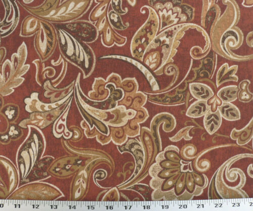 Rust-Red Drapery Upholstery Fabric Indoor//Outdoor Maco Floral Paisley
