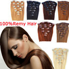 7 FASCIA CAPELLI VERI 100% 16 CLIP Remy Hair SET ALLUNGAMENTO 53CM EXTENSION