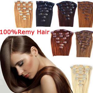 7-FASCIA-CAPELLI-VERI-100-16-CLIP-70-gr-Remy-Hair-ALLUNGAMENTO-52CM-EXTENSION