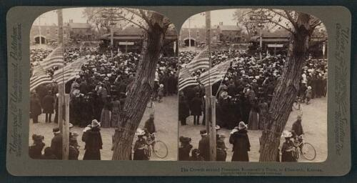 Photo of Stereograph,President Theodore Roosevelt,Train,Ellsworth,Kansas,c1903