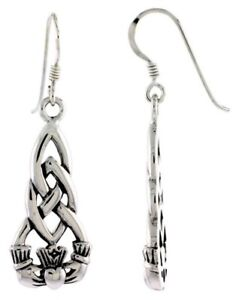 Irish-Celtic-Knot-Claddagh-Charm-Dangle-Earrings-925-Sterling-Silver