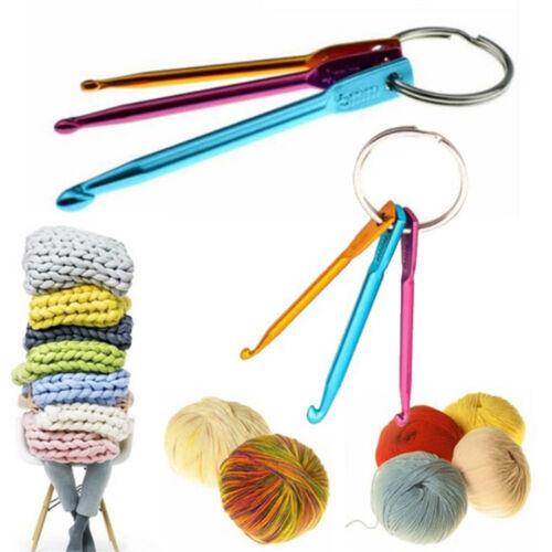 3 Pcs//Set Alumina Crochet Hooks Key Chain Set Weaving Tools Crochet Needles