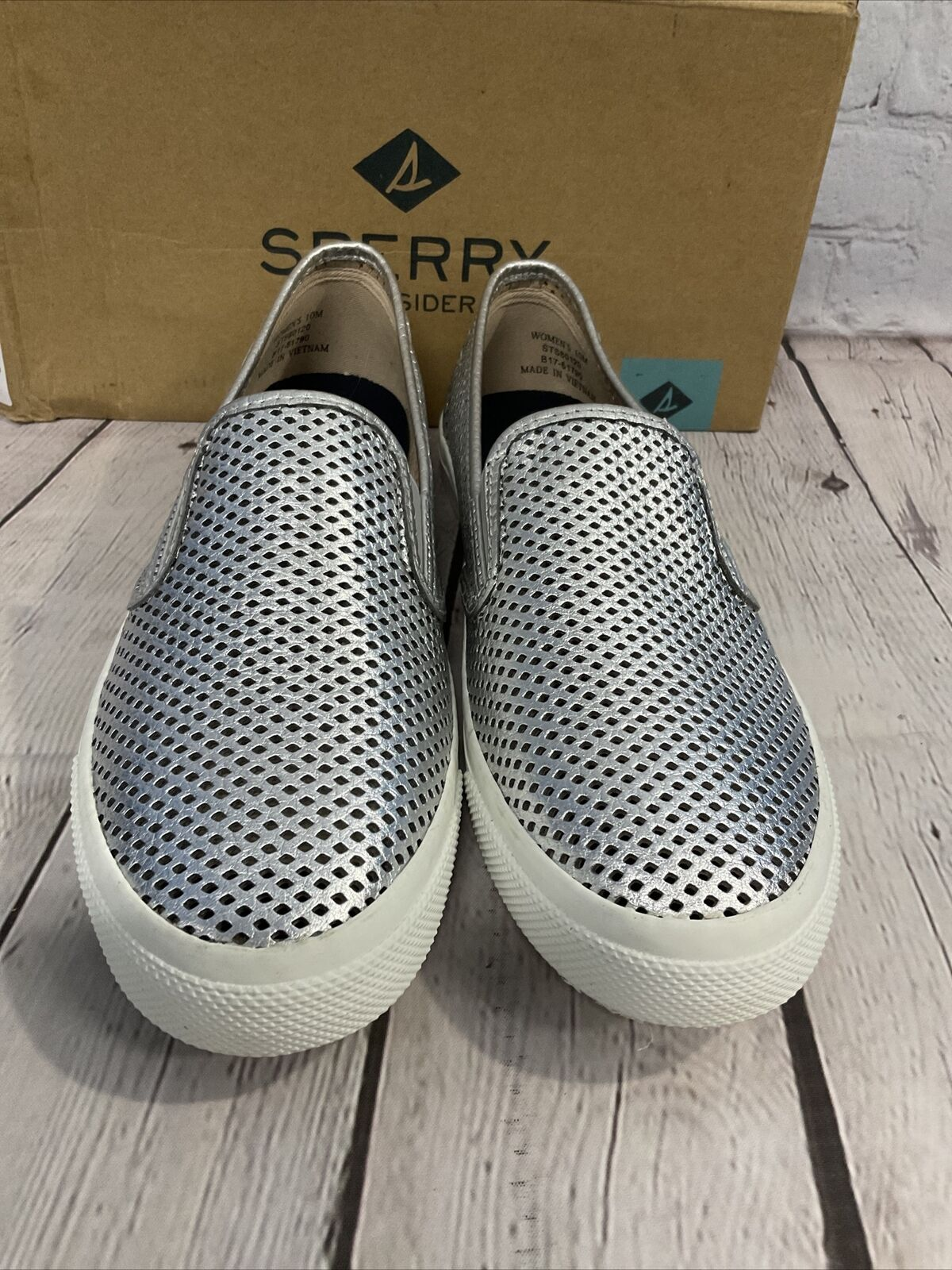 Sperry Top-Side Women's SeaSide Perf Slip-On Shoes Leather Silver Size 10 Medium