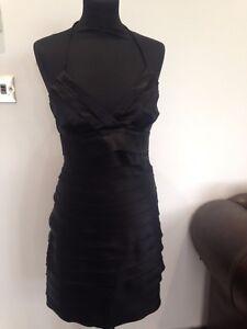 WOMENS-LIPSY-BLACK-SATIN-HALTER-NECK-A-LINE-DRESS-UK-10-BODYCON