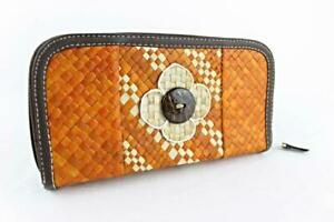 Ladies Women Straw Purse Flower Design Orange White