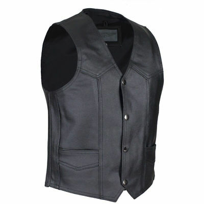 Biker Kids S//M Boys Black Leather Motorcycle Vest Childs 6-7