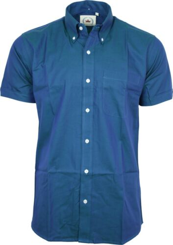 Relco Mens NEW Blue Green Tonic Short Sleeved Shirt Mod Skin Retro Indie 60s 70s