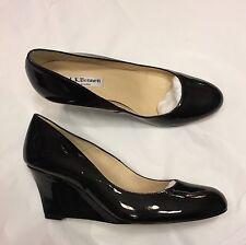 LK BENNETT Zahara black patent leather wedges heels 37 / UK 4
