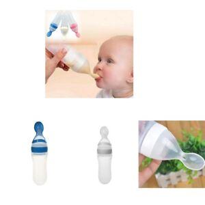2Pcs-Bebe-Silicone-Squeeze-biberon-cuillere-alimentaire-riz-cereales-Feeder-90-ml
