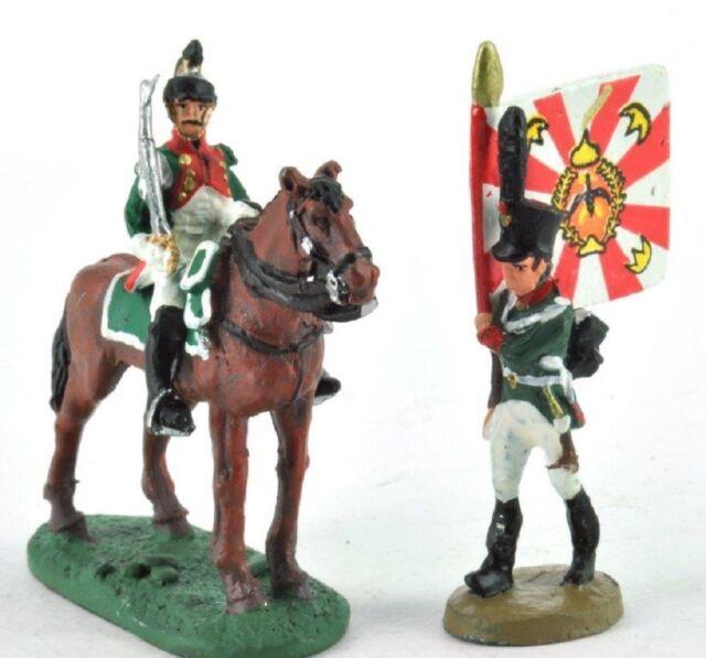 lead figure Soldier Napoleonic War Austerlitz Infantry Flag carrier+cavalry D43