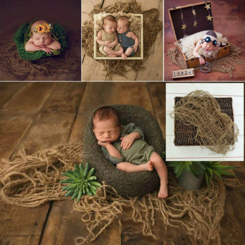 Newborn Jute Backdrop Blanket Baby Photography Prop Chunky Burlap Layer Net