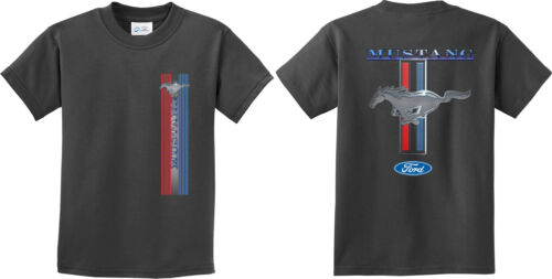 Buy Cool Shirts Kids Ford Mustang T-shirt Stripe Youth Tee Front and Back
