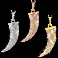 Big Bling Gold Rose Silver Pave Set Cz Crystal Italian Horn Long Chain Necklace