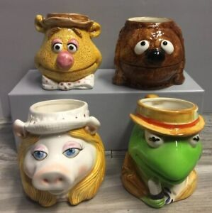 Set-of-4-Muppets-Kermit-Miss-Piggy-Fozzie-Rolf-Mugs-Cups-Sigma-Tastesetter